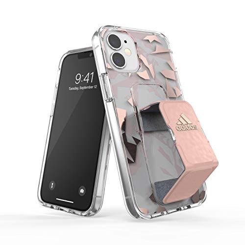 adidas Funda diseñada para iPhone 12 Mini 5.4, Transparente, Correa de Mano anticaídas, Bordes elevados, Funda Deportiva, Color Rosa