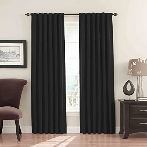 """ECLIPSE Fresno Thermal Insulated Single Panel Rod Pocket Darkening Curtains for Living Room, 52"""" x 84"""", Black"""