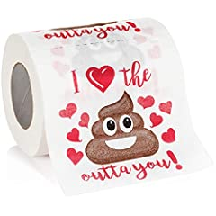 200 Sheets of 2 ply toilet tissue. Quality bathroom paper with no-smudge ink printing. Hilarious message printed on each sheet! Nothing says 'I love you' more than giving a sheet! Idea 1st Paper Anniversary Gift, Birthday Present, Christmas Present o...
