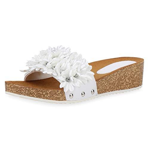 SCARPE VITA Damen Sandaletten Pantoletten Kork-Optik Profilsohle Blumen Strass Schuhe Keilabsatz Freizeitschuhe 193991 Weiss 39