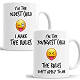 Lustiges Emoji-Kaffeetasse, Teetasse mit Aufschrift 'Youngest Oldest Child Sister Brother Rules'