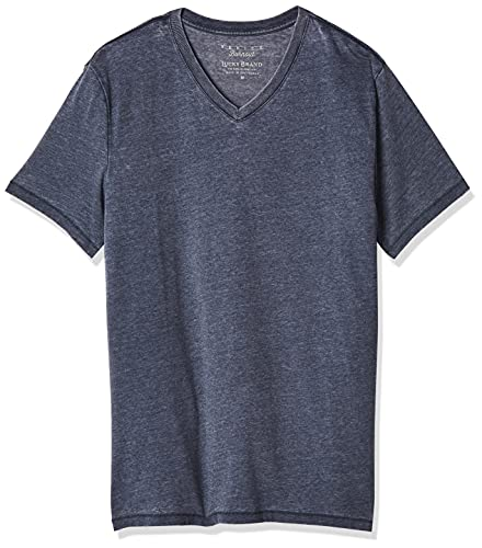 Lucky Brand Men's Venice Burnout V-Neck Tee Shirt, American Navy, Medium