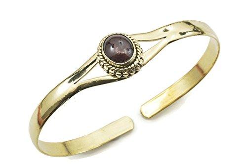 mantraroma Armreif Armband Messing golden Granat rot (932-05-011-02)