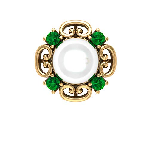 Rosec Jewels 14 quilates oro amarillo redonda black Diamond Round H-I White Diamond Pearl