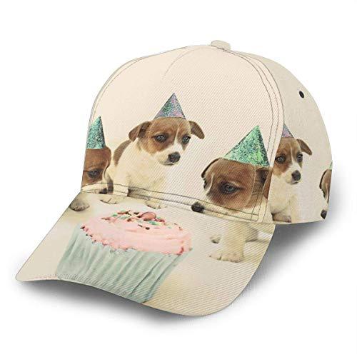 NA Unisex Baseball Cap Vintage Welpen Geburtstagstorte Hunde Trucker Hat Caps Verstellbarer Strapback