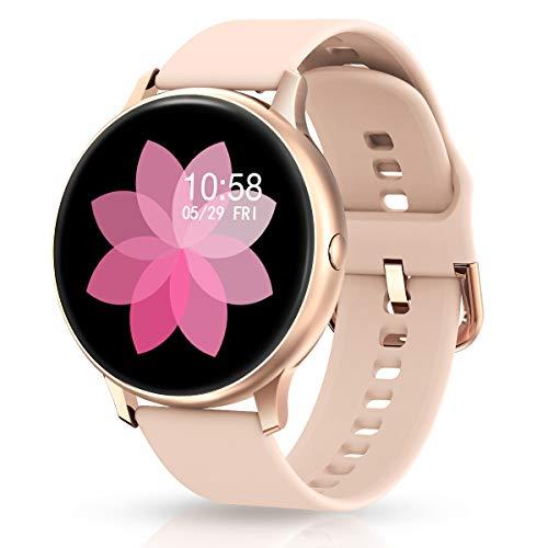 EIVOTOR Smartwatch Damen Fitness Armband Tracker Sport Uhr mit Pulsmesser Blutdruckmessung Armbanduhr IP68 Wasserdicht Schrittzähler Kalorienzähler Schlafmonitor Aktivitätstracker für Android IOS Rosa