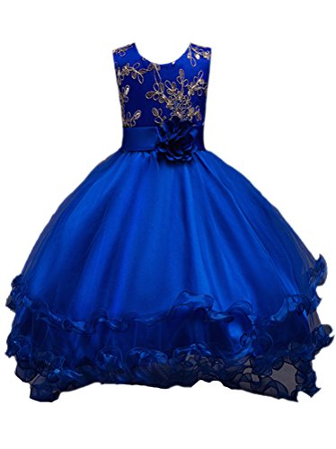 Horcute Embroidered Long Tailing Wedding Flower Girl Dress Royal 150#(7-8Y)