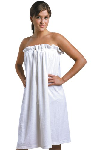 JMT Beauty Soft French Terrycloth Spa Wrap w/Drawstring & Stopper, Fits for Sizes S-L White