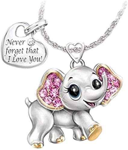 MNMXW Elephant Pendant Necklace Never Forget That I Love You Jewelry for Wedding Valentine Woman Girl Lady Gift