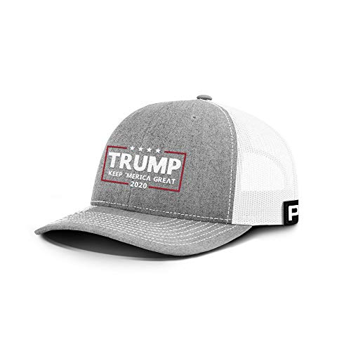 Printed Kicks Trump 2020 Hat, KAG 2020 Keep Merica Great Back Mesh Trump Hat (Heather Front/White Mesh)