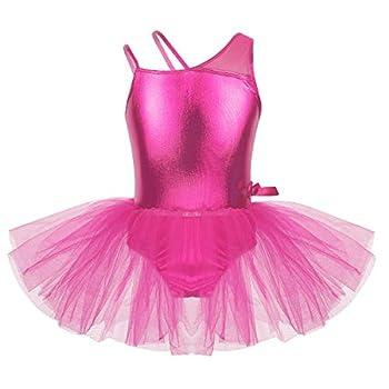 VernLan Kids Girls Metallic Glossy One Shoulder Gymnastic Leotard Ballet Tutu Dress Ballerina Dance wear Costumes Rose Red 4