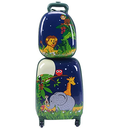 """GYMAX Kids Carry On Luggage Set, 12"""" & 16"""" 2PCS Kids Suitcase with Adjustable Trolley Rod Height & Backpack Shoulder Strap for Boys and Girls, Gift for Toddlers Children (Giraff)"""