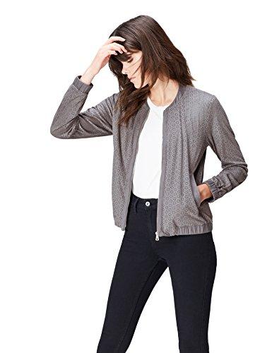 find. Bomberjacke Damen mit Cutout-Muster und Reißverschluss, Grau (Mid Grey), 40 (Herstellergröße: Large)