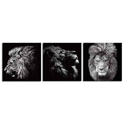 Imprimé sur toile Peintures décoratives Pas de cadre 3 pièces tête de lion Noir et blanc La Chambre des enfants Peintures décoratives Décoration De La Maison Art Mural Décor Photos , 40x40cmx3