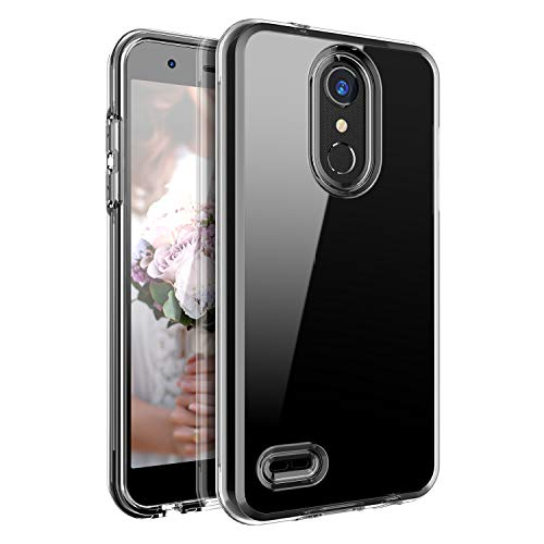 LG K8 2018 Case,JIAcase Heavy Duty Shockproof Protection Hard Plastic+Silicone Rubber Hybrid Protective Phone Case Compatible LG K8 2018 Clear