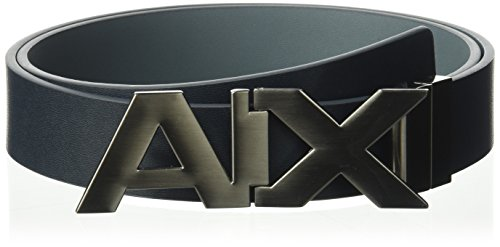 Armani Exchange Men's Hinge Belt, blue navy/grey/blue navy/grey, 28