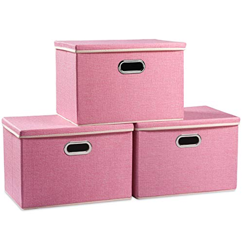 Prandom Large Collapsible Storage Bins with Lids 3-Pack Fabric Foldable Storage Boxes Organizer Containers Baskets Cube with Cover for Home Bedroom Closet Office Pink177x118x118