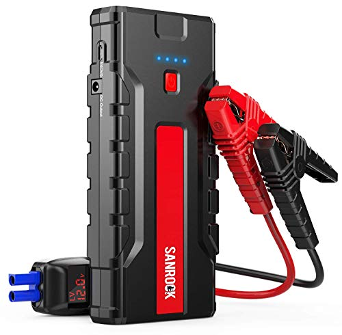SANROCK Portable Battery Starter for Car 1800A Peak 18000mAh (up to 8.0L Gas/6.5L Diesel) with LCD Screen-12V Auto Battery Booster, Type-C Port, Quick USB Charge, Power Pack with Built-in LED light