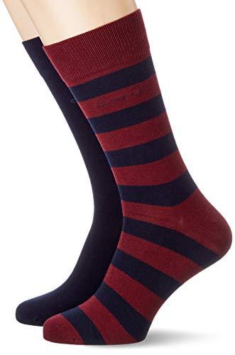 GANT Herren 2-Pack Barstripe and SOLID Klassische Socken, Port RED, OneSize