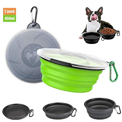 Sunwuun Cuenco Perro, Juego de 2 Viaje Cuenco para Perro Plegable de Silicona para Mascotas Perro Gato Comida Agua con Tapas y mosquetones (Negro y Verde)