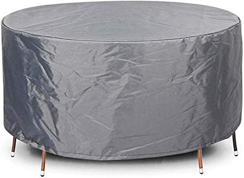 Fundas Redondas para Muebles de jardín de 140x110cm, Funda Redonda para Mesa de fogata, Fundas para Mesa y sillas de Patio Anti-UV a Prueba de Polvo a Prueba de Polvo para Exteriores