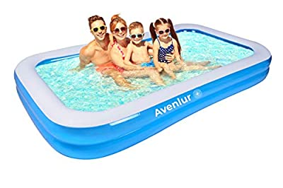 "Avenlur Family Inflatable Swimming Pool, 10 ft Long Backyard Family Pool for Adults, Kids and Toddlers, Thick Paddling Pool Summer Water Backyard Pool Party (120"" X 72"" X 20"")"