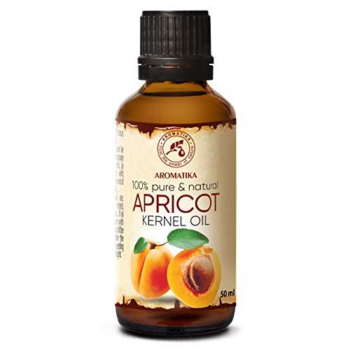 Aprikosenkernöl Kaltgepresst 50ml - Prunus Armeniaca Kernel - Italien - 100% Naturreines und Reines - Glasflasche - Basisöl - Aprikosenöl - Pflege für Gesicht - Haare - Massagen - Körperpflege