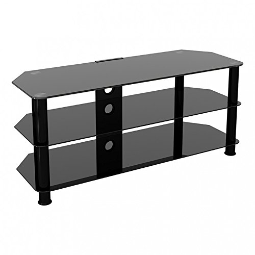King Universal Black Glass TV Stand 114cm suitable up to 55