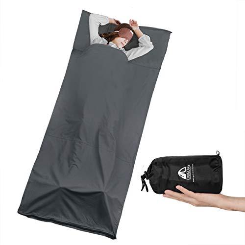 Unigear Hüttenschlafsack aus Baumwolle, Reiseschlafsack mit Kissenfach und Doppeltem Reißverschluss Schlafsack Inlett Inlay Sommerschlafsack dünn, leicht & Atmungsaktiv (Grau-1stk.)