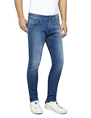 REPLAY Anbass Jeans, Medium Blue 504, 32W / 32L Uomo
