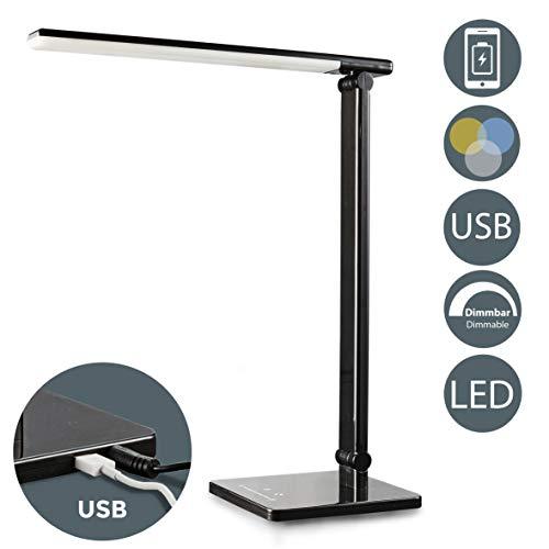 LED Tischlampe schwarz 5W | Tischleuchte dimmbar | faltbar inkl LED-Leuchtmodul | 7 Helligkeitsstufen | 5 Farbtemperaturen | Touch Control | 500lm I Schreibtischleuchte