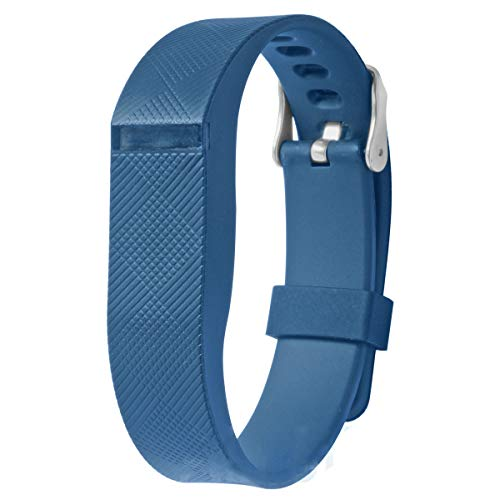 allbingo Fitbit Flex Adjustable Wristband - Fitbit Flex Silicone Replacement Secure Band with Chrome Watch Clasp and Fastener Buckle - Fix The Tracker Fall Off Problem (Blue x 1)