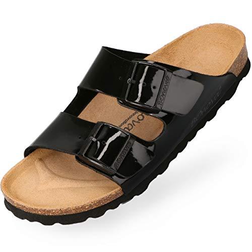 BOnova Damen Pantolette Schwanberg in 9 Farben, sommerliche Sandalen in auffälligen Farben und mit Beschlägen, Bequeme Hausschuhe mit Kork-Sohle schwarz Lack 40