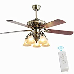 ✔The Perfect Ceiling Fan: Give any room a beautiful upgrade with our 52-inch New Bronze Ceiling Fan with Five Blades and Lights Kit.Not suit for 3.5 inch and below electric box. ✔Quality Materials: This fan is crafted from high-quality metal, gorgeou...