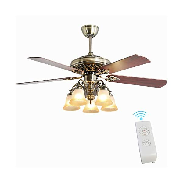 Indoor Ceiling Fan Light Fixtures – FINXIN New Bronze Remote LED 52 Ceiling...