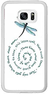 Cunghe Samsung Galaxy S7 Edge Case, White PC Hard Phone Cover Case For Samsung Galaxy S7 Edge 5.9 Inch with Dragonfly Quote Theme Phone Case