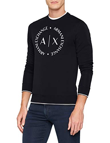 Armani Exchange Herren 1St to Be Noticed Sweat Sweatshirt, Blau (Navy 1510), XX-Large (Herstellergröße:XXL)