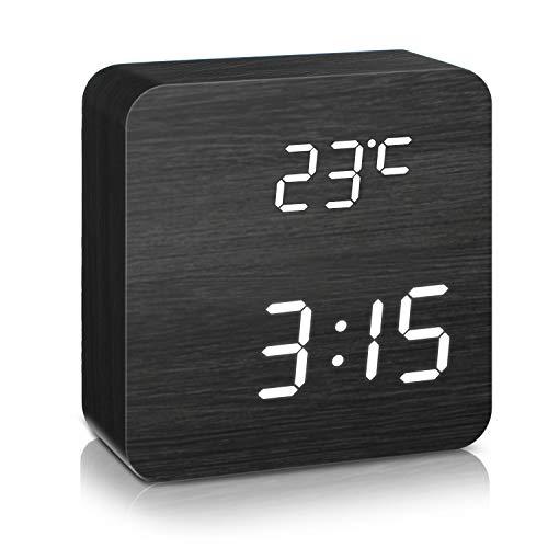 DIGOO LED Digital Wecker mit 5 Gruppen Alarm Einstellung, Temperatur Zeit und Datum Display, 5 Einstellbare Helligkeit, Sprachsteuerung, 2 Modi Display