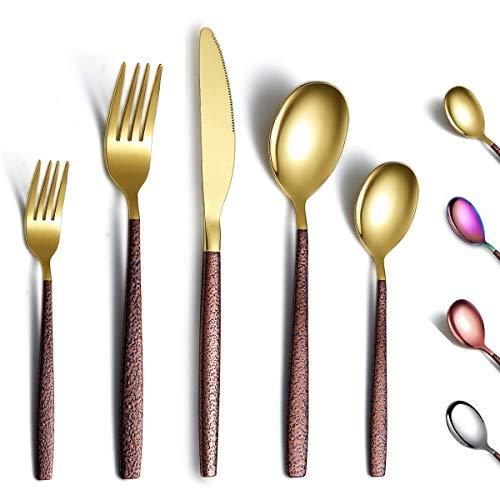 Berglander Set di posate 30 pezzi con manico in superficie lunare e placcatura in titanio con testa in oro lucido, set di posate moderne in acciaio inossidabile Set di utensili per 6