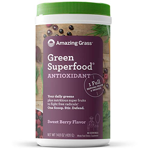Amazing Grass Green Superfood Antioxidant: Super Greens Powder with Spirulina, Elderberry & Probiotics, Sweet Berry, 60 Servings