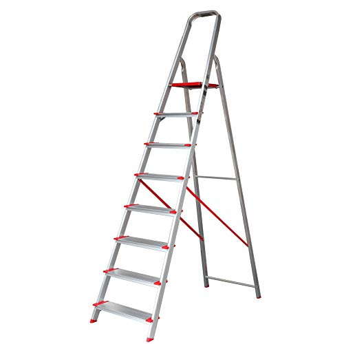 Escalera de Tijera de Aluminio Peldaño Ancho 12 cm (8 Peldaños con Ancho 12 cm)