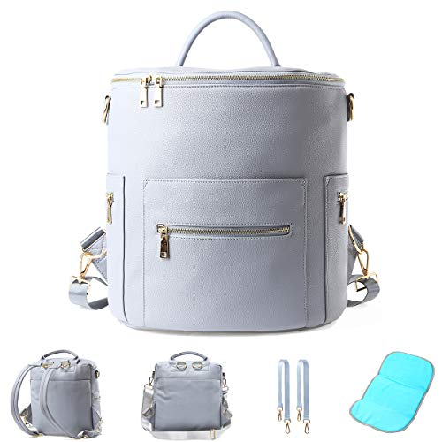 Large Faux Leather Diaper Bag Backpack 14 Pockets 2 Insulated Pockets Grey