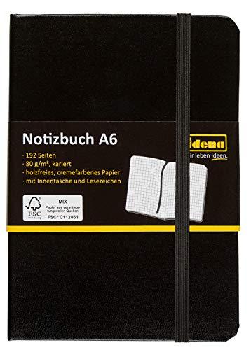 Idena 209282 - Notizbuch A6, kariert, mit Lesezeichen und Innentasche, schwarz