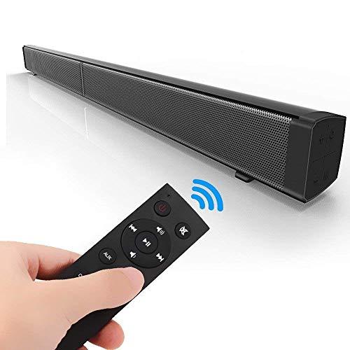 Altavoces de barra de sonido, barra de sonido con subwoofer inalámbrico con control remoto DSP Noiseuction Subwoofer de 40W Cine en casa 3D Altavoz portátil Amplificador de sonido Altavoz de pared
