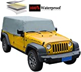 iiSPORT Cab Cover for Jeep Wrangler JK Unlimited 2 Door, 100% UV Protection Water-Resistant Car Cover Fit 2007-2018 Models, Extra Thick Fabric SUV Cover Over Installed Top