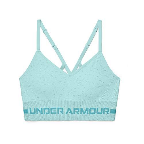 Under Armour Women's Seamless Low Impact Long Heather Bra , Breeze (441)/Cosmos , Medium