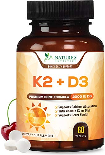 Vitamin K2 (Mk7) with D3 Supplement - High Potency Vitamin D Complex, Chewable for Better Absorption, Made in USA, Support for Your Heart, Bones & Teeth, Non-GMO - 60 Veggie Tablets