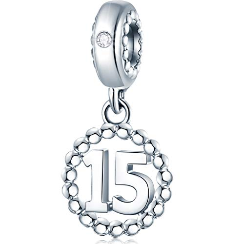 15 Number Bracelet Charms 925 Sterling Silver Pendant Beads Fit Pandora Charm Bracelets Necklace and European Snake Chain Dangling Dangle for Happy Birthday 15th Anniversary 15 Years
