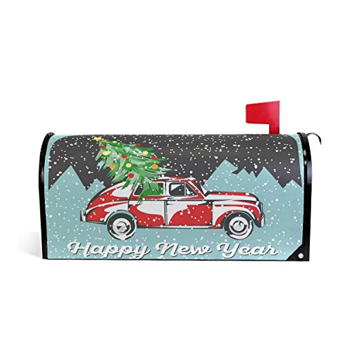 Arbre de Noël de voiture Neige Bienvenue magnétique Boîte aux lettres Boîte aux lettres Coque stratifiées, Winter Happy New Year Taille standard Makover Mailwrap Garden Home Decor 64.7x52.8cm multicolore