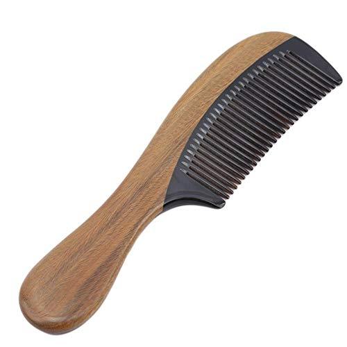 Vintage Anti Statique Peigne Corne Naturel Vert Bois de Santal Ox Bois Barbe Cheveux Peigne Poignée 1pc,Noir